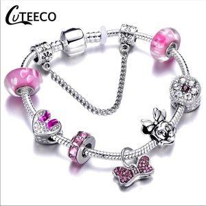 Jewelry - Brand New Minnie Mouse Pink Bow Charm Bracelet